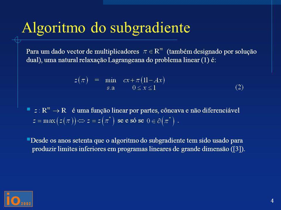5 Aspecto genérico de um algoritmo do subgradiente Passo 1: Dado,resolver (2) com, para obter a sua solução.