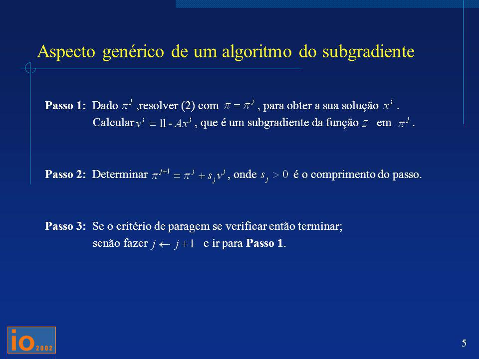 5 Aspecto genérico de um algoritmo do subgradiente Passo 1: Dado,resolver (2) com, para obter a sua solução. Calcular, que é um subgradiente da função