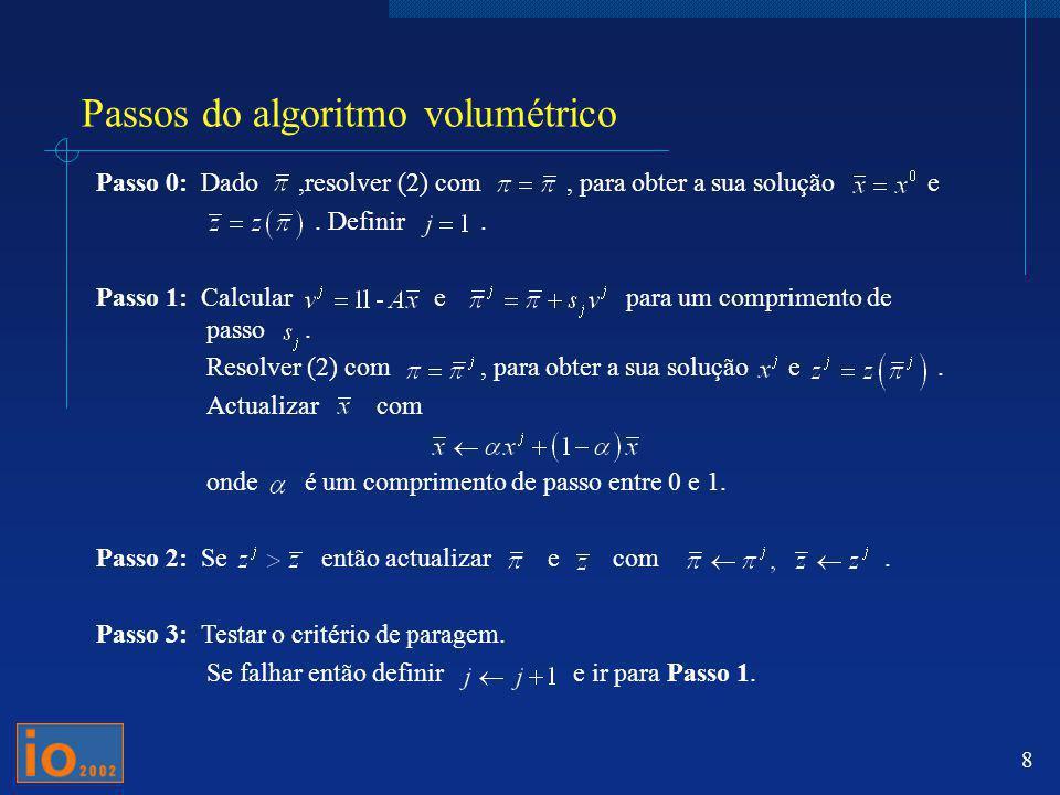 8 Passos do algoritmo volumétrico Passo 0: Dado,resolver (2) com, para obter a sua solução e. Definir. Passo 1: Calcular e para um comprimento de pass