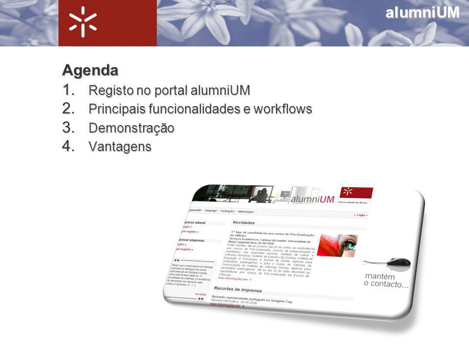 Agenda 1. Registo no portal alumniUM 2. Principais funcionalidades e workflows 3. Demonstração 4. Vantagens alumniUM