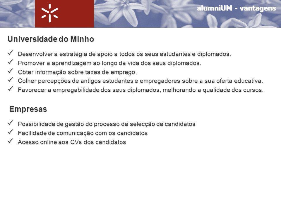 alumniUM - vantagens Alumni Observatório de Emprego – preenchimento de questionário.