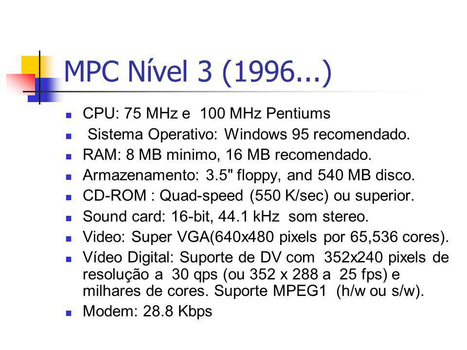 MPC Nível 3 (1996...) CPU: 75 MHz e 100 MHz Pentiums Sistema Operativo: Windows 95 recomendado. RAM: 8 MB minimo, 16 MB recomendado. Armazenamento: 3.