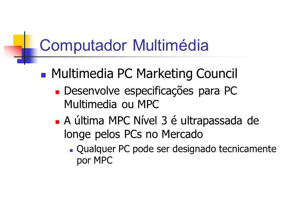 Computador Multimédia Multimedia PC Marketing Council Desenvolve especificações para PC Multimedia ou MPC A última MPC Nível 3 é ultrapassada de longe