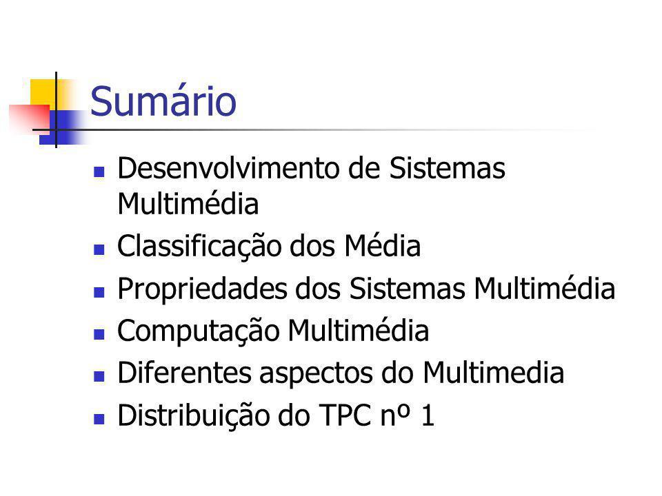 Sumário Desenvolvimento de Sistemas Multimédia Classificação dos Média Propriedades dos Sistemas Multimédia Computação Multimédia Diferentes aspectos
