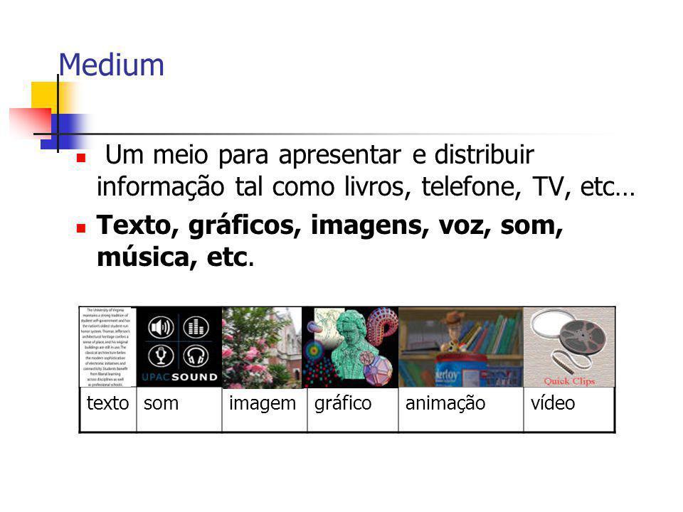 Medium Um meio para apresentar e distribuir informação tal como livros, telefone, TV, etc… Texto, gráficos, imagens, voz, som, música, etc. textosomim