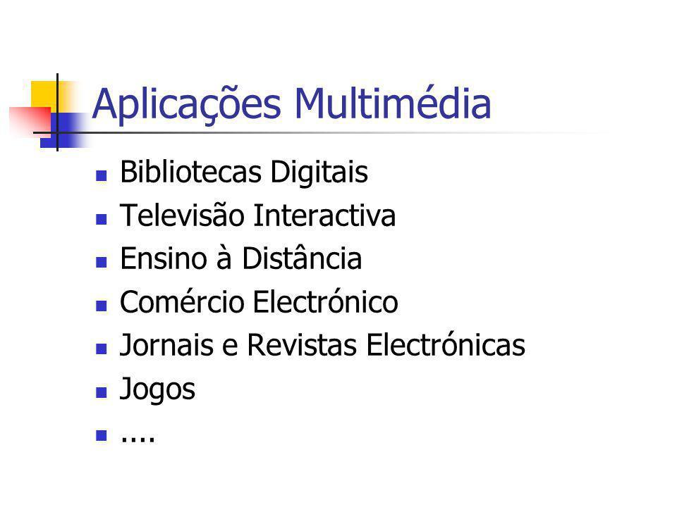 Aplicações Multimédia Bibliotecas Digitais Televisão Interactiva Ensino à Distância Comércio Electrónico Jornais e Revistas Electrónicas Jogos....