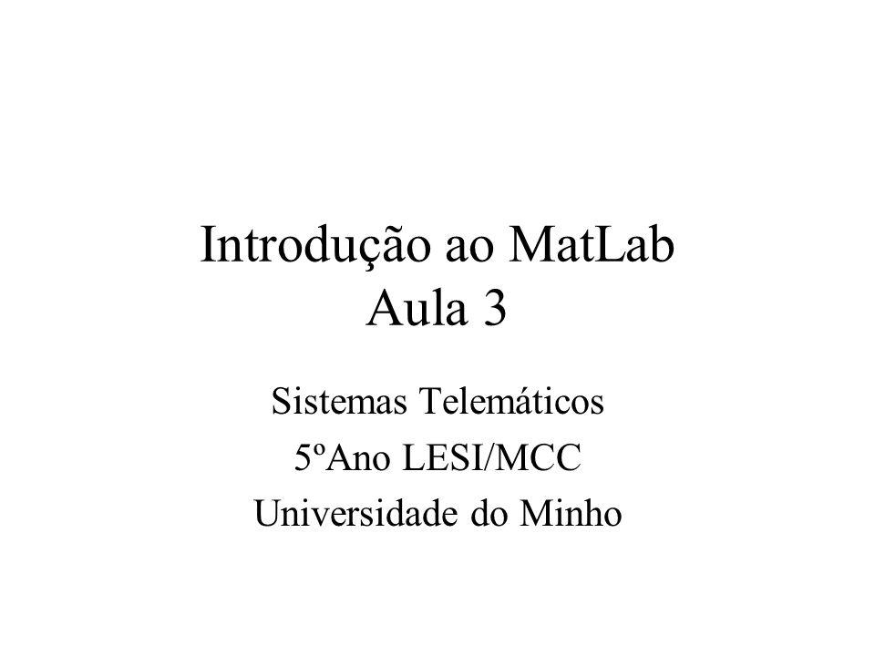 Introdução ao MatLab Aula 3 Sistemas Telemáticos 5ºAno LESI/MCC Universidade do Minho