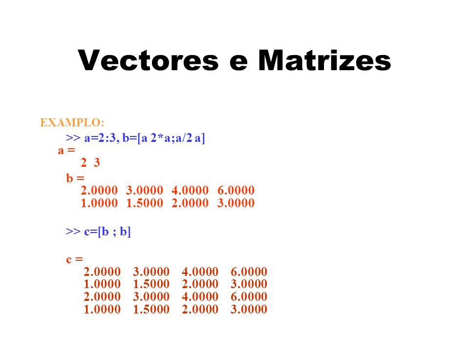 Vectores e Matrizes EXAMPLO: >> a=2:3, b=[a 2*a;a/2 a] a = 2 3 b = 2.0000 3.0000 4.0000 6.0000 1.0000 1.5000 2.0000 3.0000 >> c=[b ; b] c = 2.0000 3.0