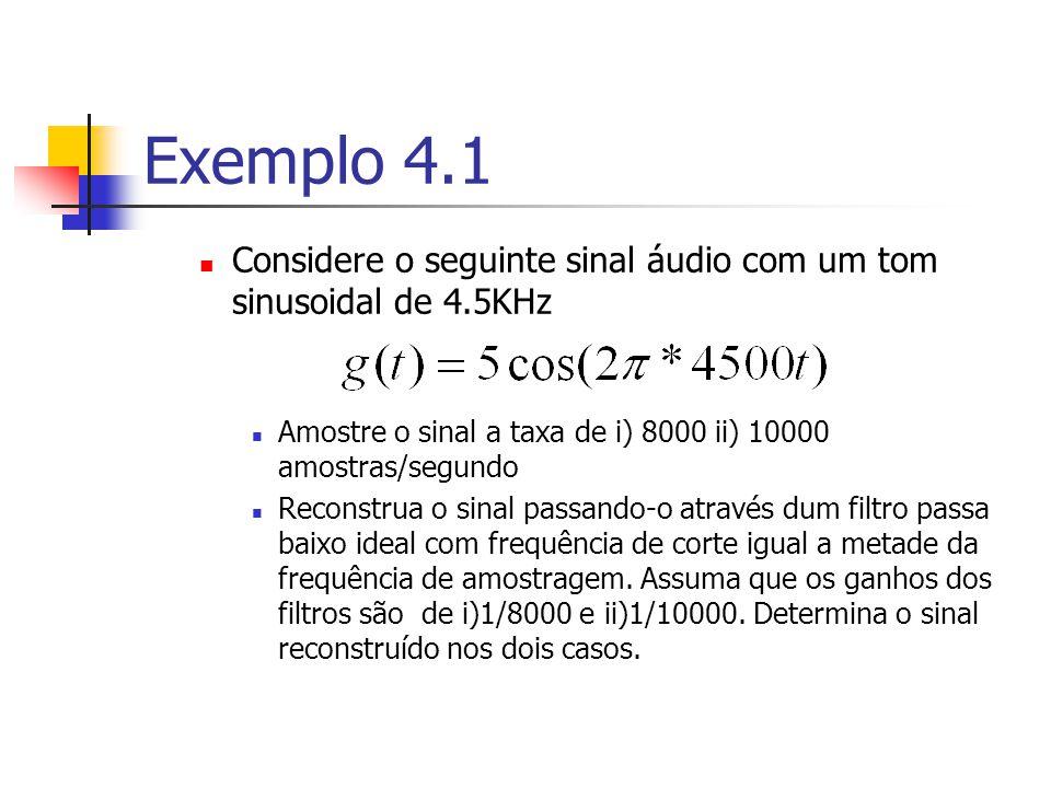 Reconstrução Directa Fórmula de Interpolação do domínio do tempo Os valores do sinal para instâncias do sinal não amostradas podem ser calculadas exac