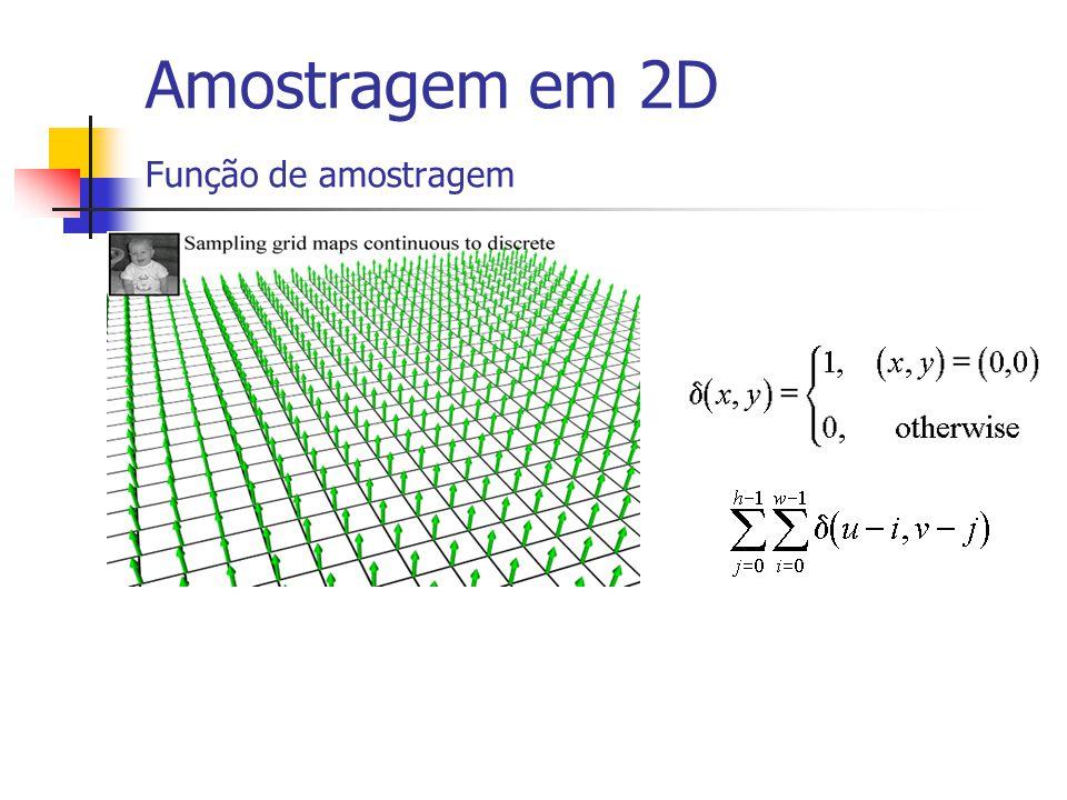 Amostragem de imagens 2D A função de amostragem ideal para uma imagem é uma matriz de infinita com funções delta de Dirac situadas numa grelha A amost
