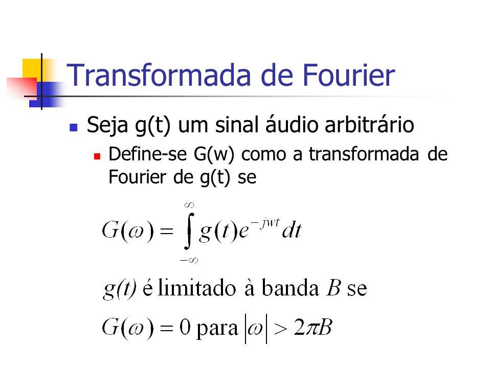 Transformada de Fourier Seja g(t) um sinal áudio arbitrário Define-se G(w) como a transformada de Fourier de g(t) se