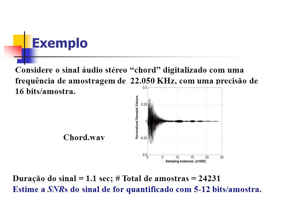 SNR versus Bits/amostra 8 bits audio 48 dB SNR 12 bits audio 72 dB SNR 16 bits audio 96 dB SNR Cada bit adicional/amostra reduz o ruído de aproxiamada