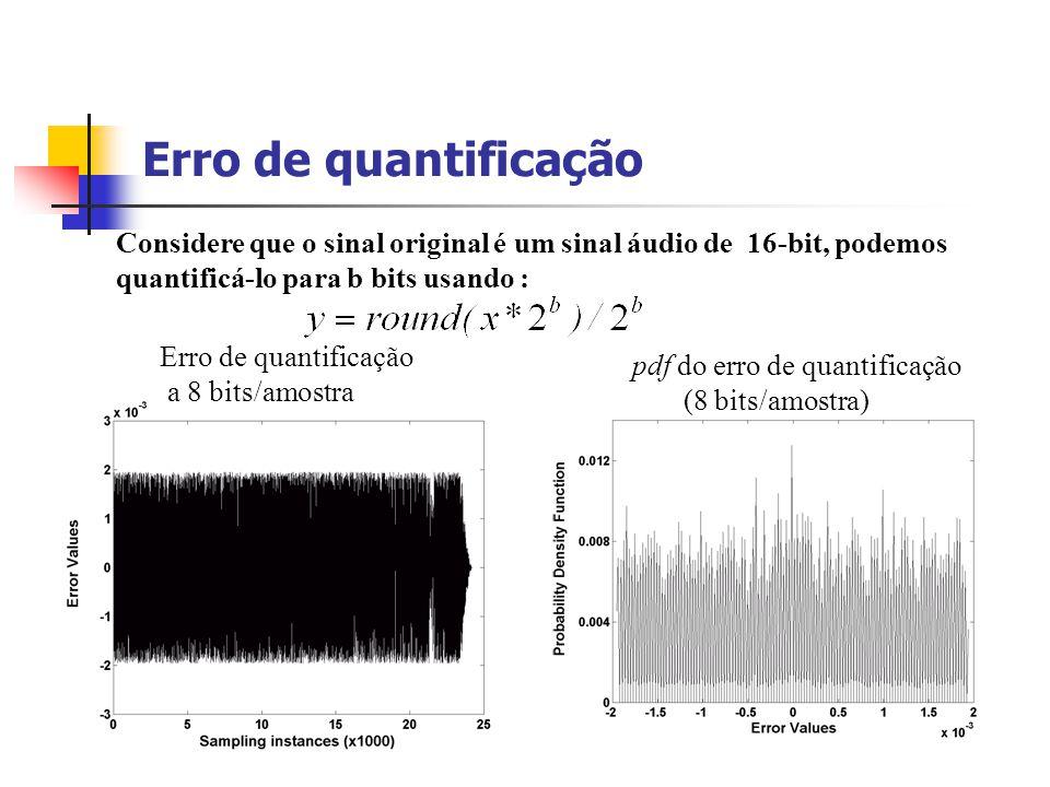 Exemplo Considere o sinal áudio stéreo chord digitalizado com uma frequência de amostragem de 22.050 KHz, com uma precisão de 16 bits/amostra. Duração