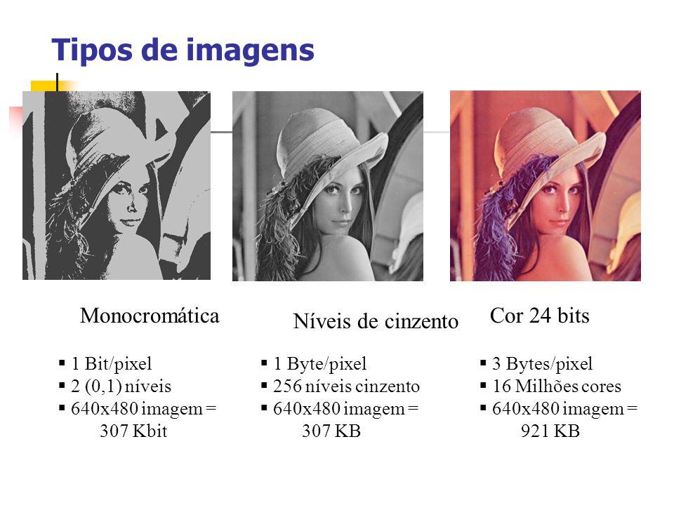 Imagens a cores Cada pixel é representado com 3 bytes (e.g., RGB) Suporta 256 x 256 x 256 cores possíveis (16,777,216) para 24 bit res. Uma imagem a c