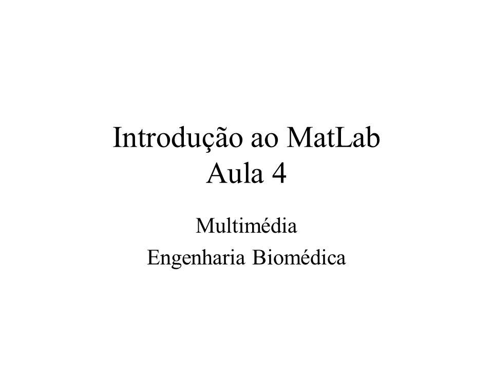 Introdução ao MatLab Aula 4 Multimédia Engenharia Biomédica