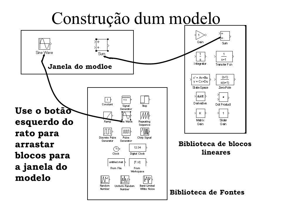 Construção dum modelo Janela do modloe Biblioteca de blocos lineares Biblioteca de Fontes Use o botão esquerdo do rato para arrastar blocos para a jan