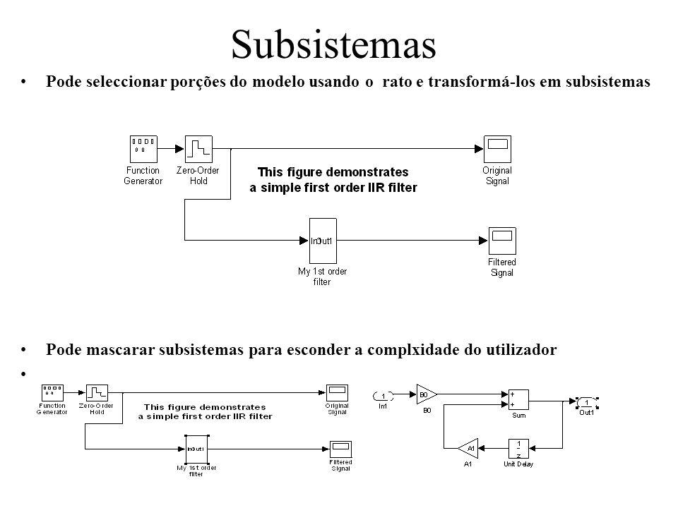 Pode seleccionar porções do modelo usando o rato e transformá-los em subsistemas Pode mascarar subsistemas para esconder a complxidade do utilizador.