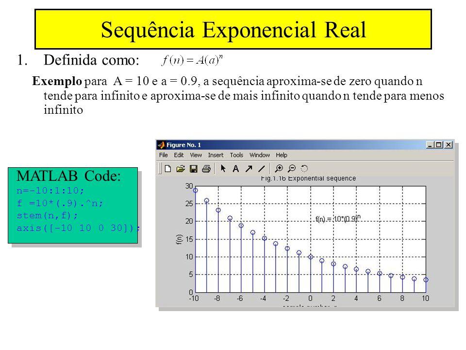 Sequência Exponencial Real 1.Definida como: Exemplo para A = 10 e a = 0.9, a sequência aproxima-se de zero quando n tende para infinito e aproxima-se