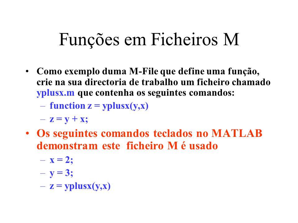 Funções em Ficheiros M Como exemplo duma M-File que define uma função, crie na sua directoria de trabalho um ficheiro chamado yplusx.m que contenha os