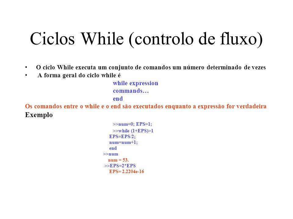 Ciclos While (controlo de fluxo) O ciclo While executa um conjunto de comandos um número determinado de vezes A forma geral do ciclo while é while exp