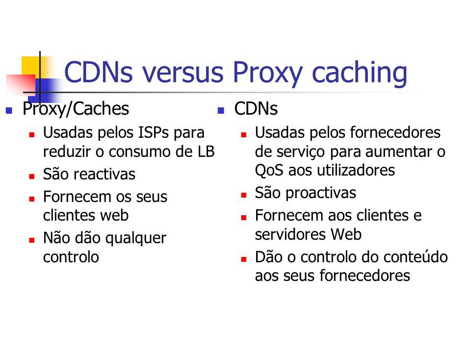 CDNs versus Proxy caching Proxy/Caches Usadas pelos ISPs para reduzir o consumo de LB São reactivas Fornecem os seus clientes web Não dão qualquer con