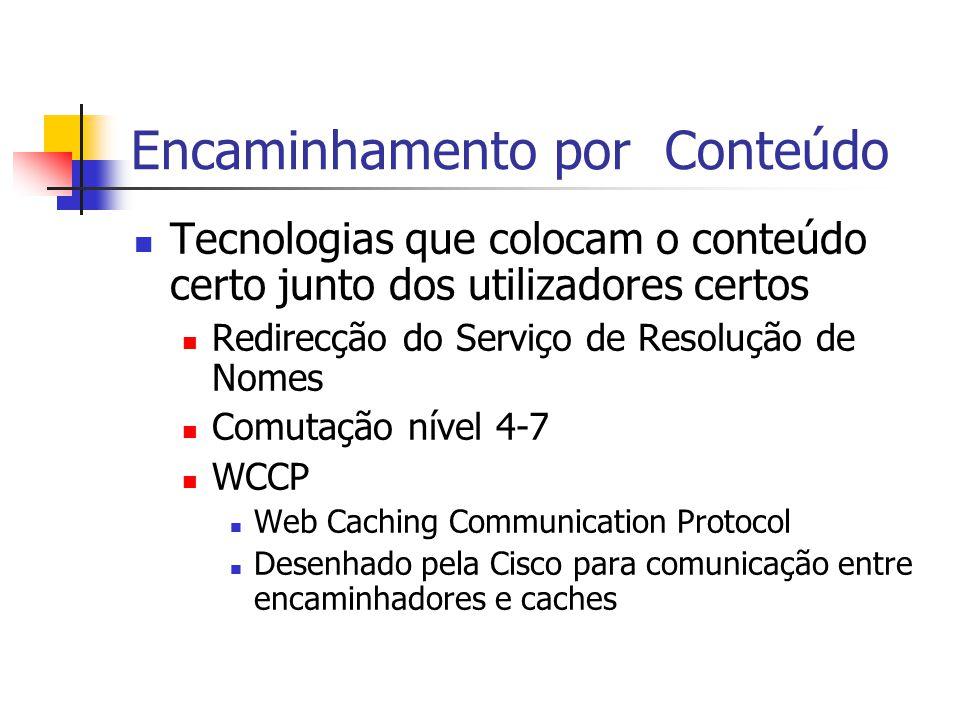 Encaminhamento por Conteúdo Tecnologias que colocam o conteúdo certo junto dos utilizadores certos Redirecção do Serviço de Resolução de Nomes Comutaç