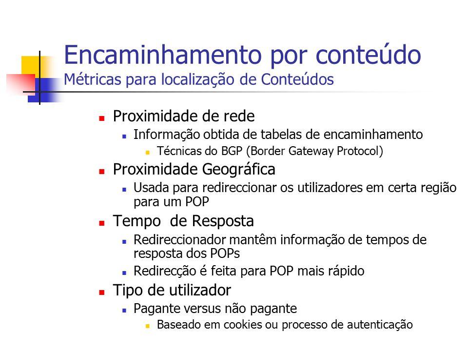 Encaminhamento por conteúdo Métricas para localização de Conteúdos Proximidade de rede Informação obtida de tabelas de encaminhamento Técnicas do BGP