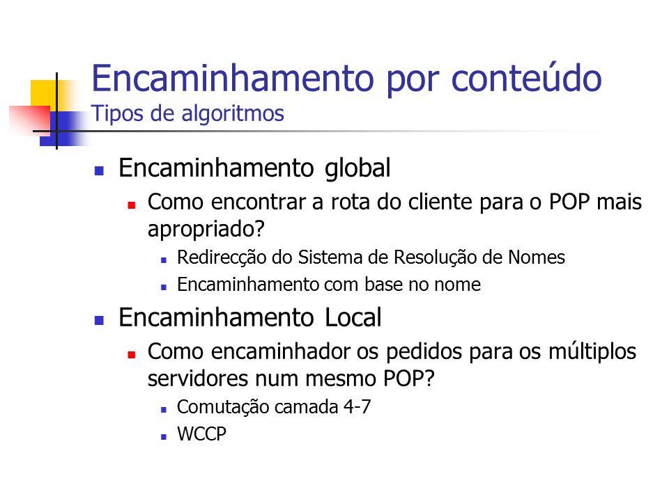 Encaminhamento por conteúdo Tipos de algoritmos Encaminhamento global Como encontrar a rota do cliente para o POP mais apropriado? Redirecção do Siste