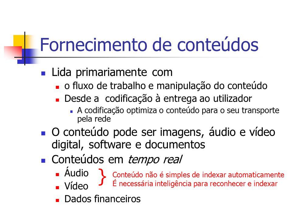Fornecimento de conteúdos Lida primariamente com o fluxo de trabalho e manipulação do conteúdo Desde a codificação à entrega ao utilizador A codificaç