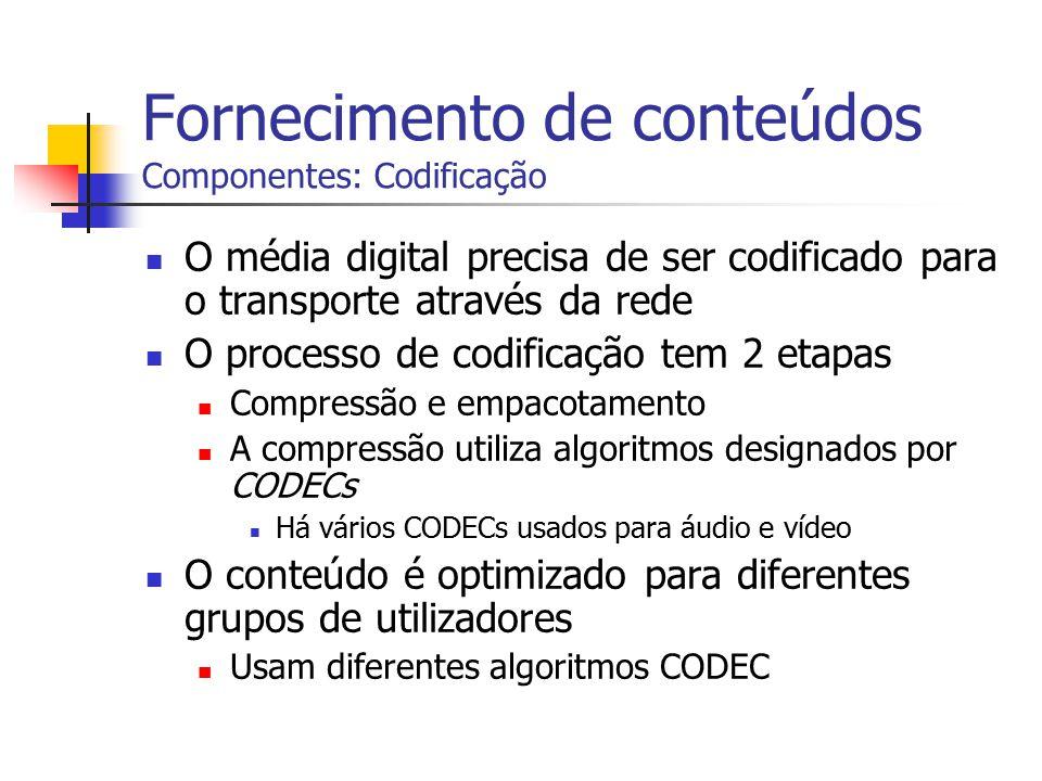 Fornecimento de conteúdos Componentes: Codificação O média digital precisa de ser codificado para o transporte através da rede O processo de codificaç
