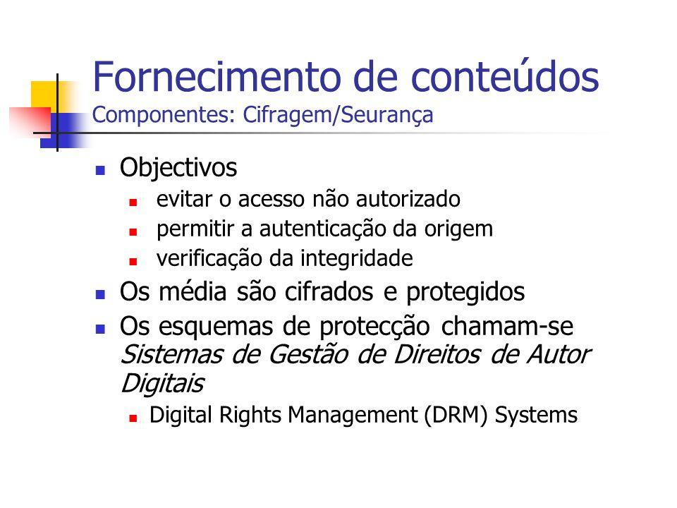 Fornecimento de conteúdos Componentes: Cifragem/Seurança Objectivos evitar o acesso não autorizado permitir a autenticação da origem verificação da in