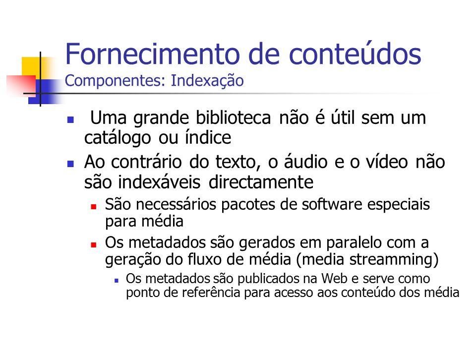 Fornecimento de conteúdos Componentes: Indexação Uma grande biblioteca não é útil sem um catálogo ou índice Ao contrário do texto, o áudio e o vídeo n