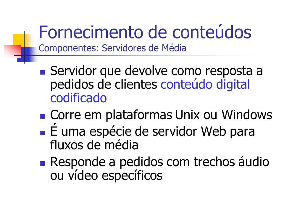 Fornecimento de conteúdos Componentes: Servidores de Média Servidor que devolve como resposta a pedidos de clientes conteúdo digital codificado Corre