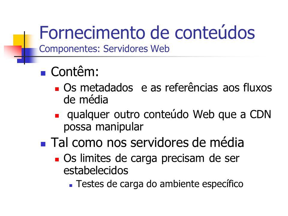 Fornecimento de conteúdos Componentes: Servidores Web Contêm: Os metadados e as referências aos fluxos de média qualquer outro conteúdo Web que a CDN