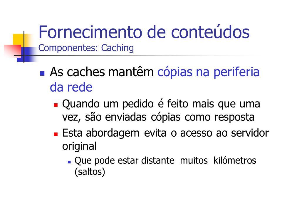 Fornecimento de conteúdos Componentes: Caching As caches mantêm cópias na periferia da rede Quando um pedido é feito mais que uma vez, são enviadas có