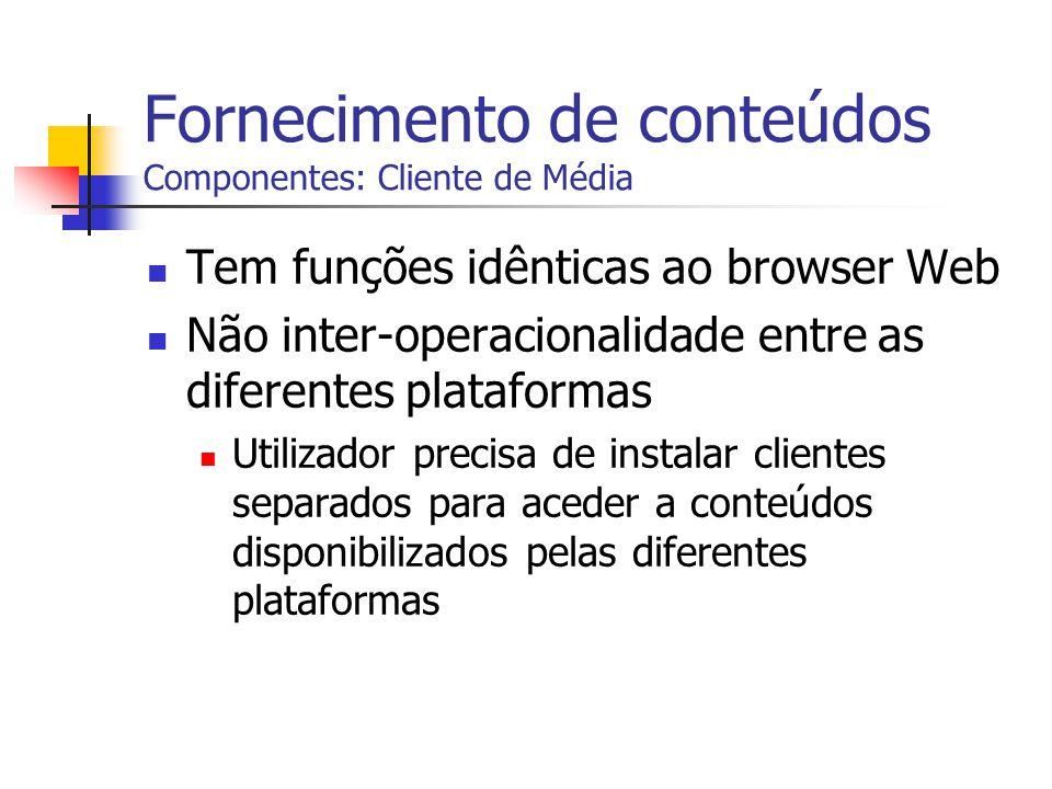 Fornecimento de conteúdos Componentes: Cliente de Média Tem funções idênticas ao browser Web Não inter-operacionalidade entre as diferentes plataforma