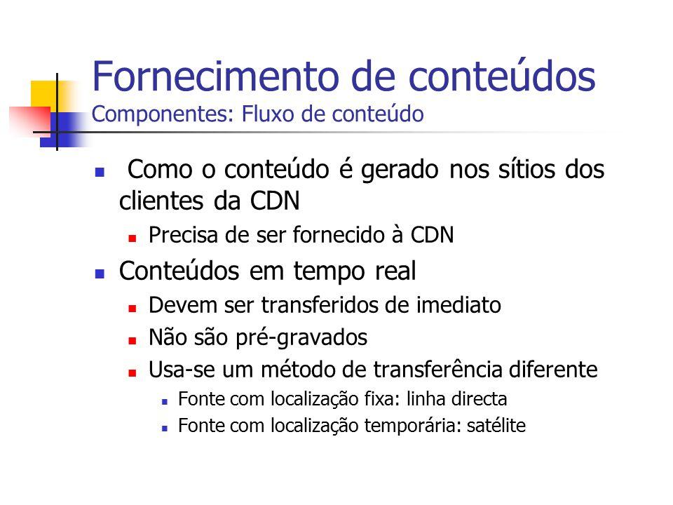 Fornecimento de conteúdos Componentes: Fluxo de conteúdo Como o conteúdo é gerado nos sítios dos clientes da CDN Precisa de ser fornecido à CDN Conteú