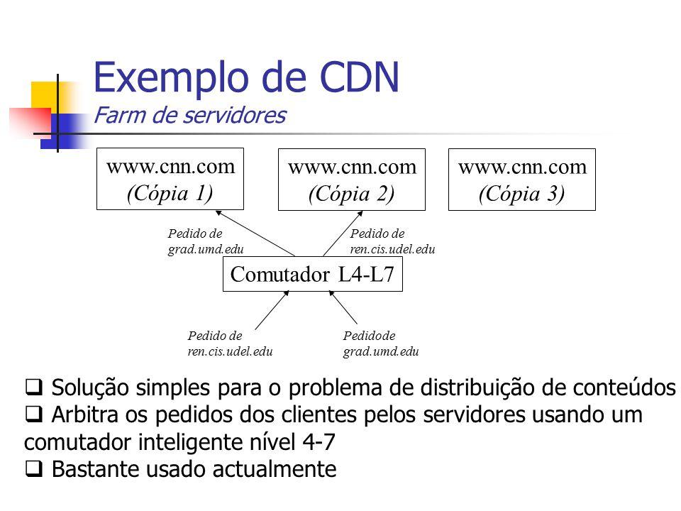 Exemplo de CDN Farm de servidores Comutador L4-L7 Pedidode grad.umd.edu Pedido de ren.cis.udel.edu Pedido de ren.cis.udel.edu Pedido de grad.umd.edu w