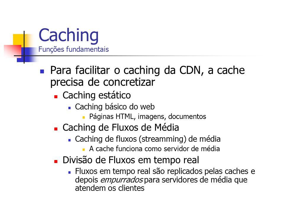 Caching Funções fundamentais Para facilitar o caching da CDN, a cache precisa de concretizar Caching estático Caching básico do web Páginas HTML, imag