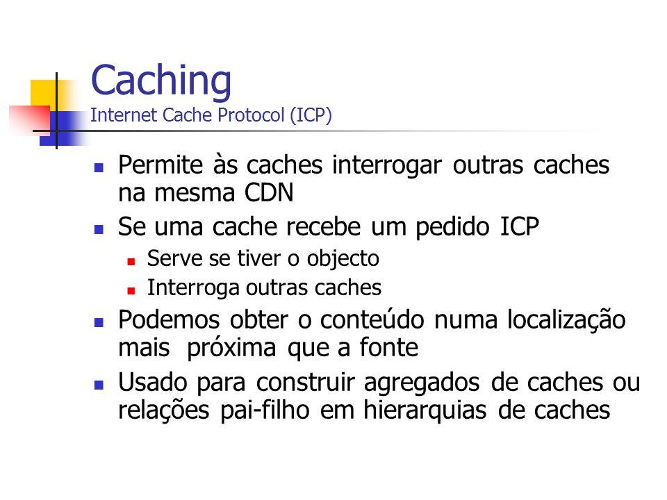 Caching Internet Cache Protocol (ICP) Permite às caches interrogar outras caches na mesma CDN Se uma cache recebe um pedido ICP Serve se tiver o objec