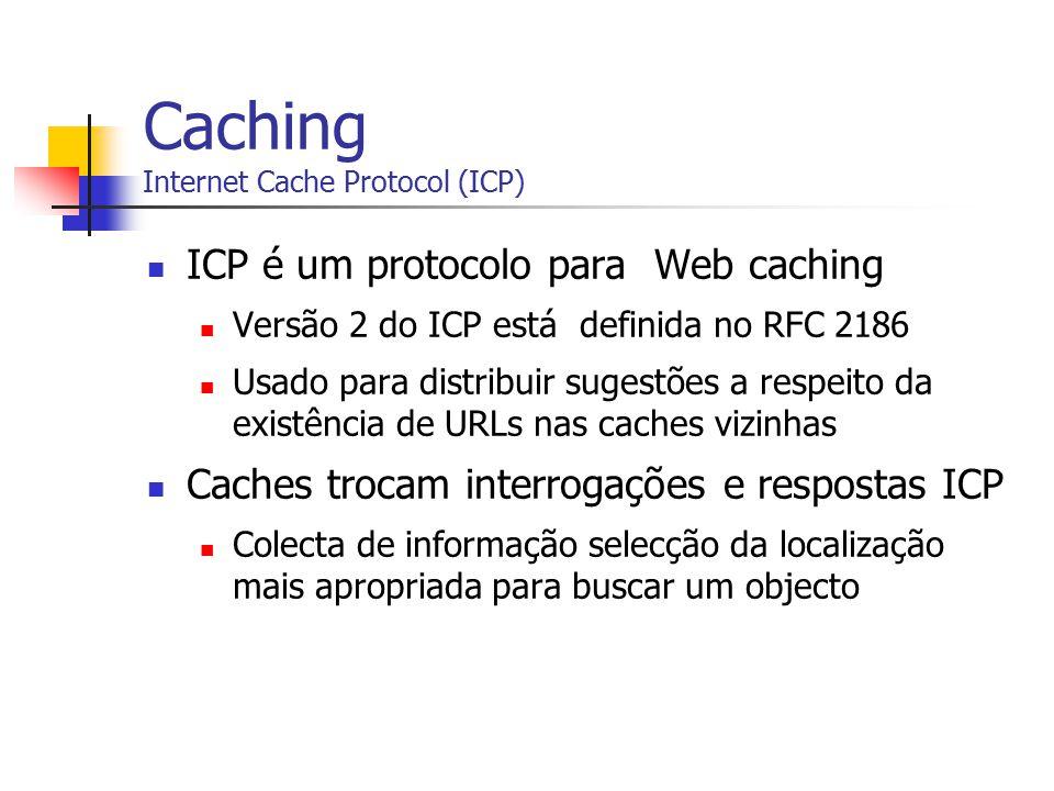 Caching Internet Cache Protocol (ICP) ICP é um protocolo para Web caching Versão 2 do ICP está definida no RFC 2186 Usado para distribuir sugestões a