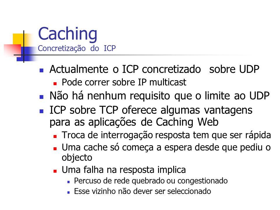 Caching Concretização do ICP Actualmente o ICP concretizado sobre UDP Pode correr sobre IP multicast Não há nenhum requisito que o limite ao UDP ICP s