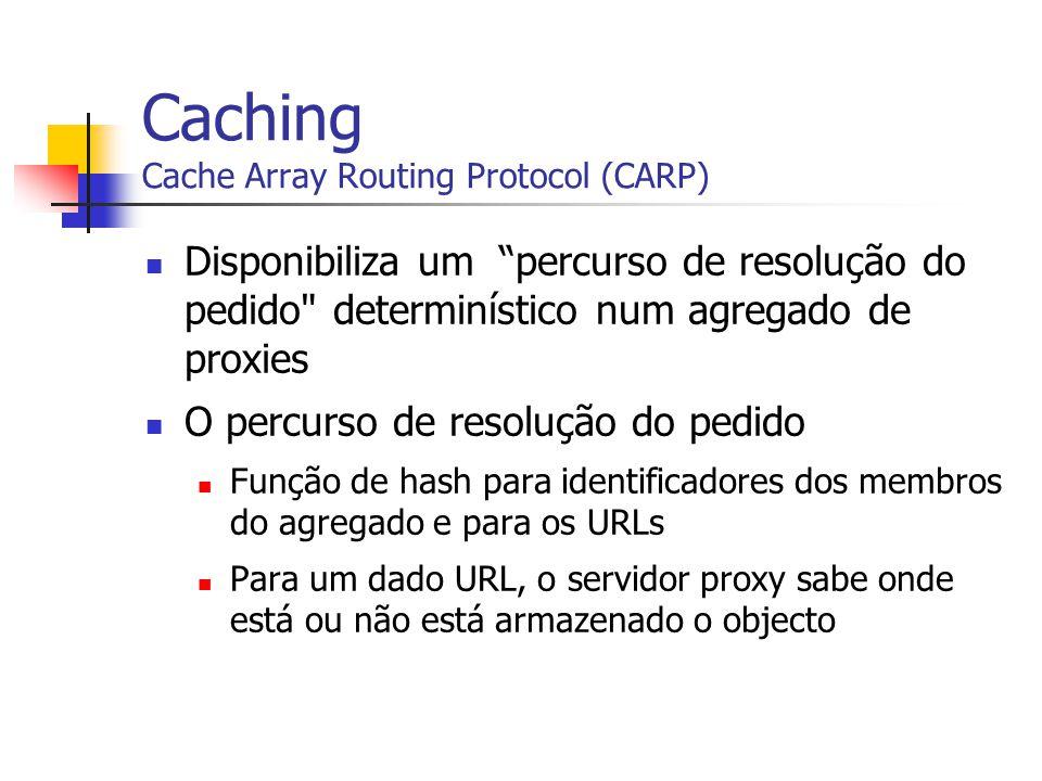 Caching Cache Array Routing Protocol (CARP) Disponibiliza um percurso de resolução do pedido