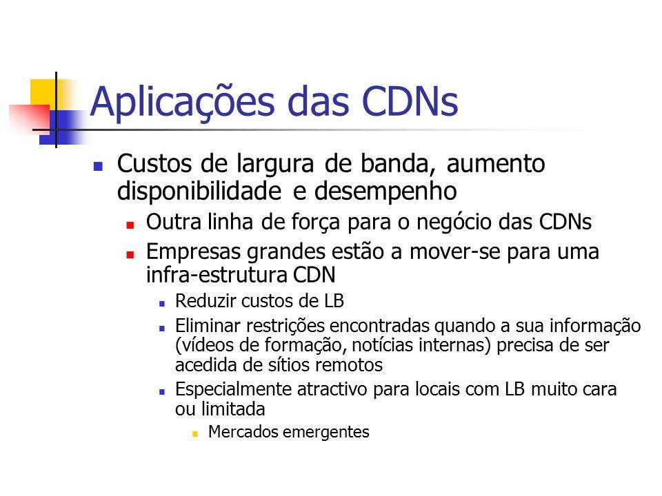 Aplicações das CDNs Custos de largura de banda, aumento disponibilidade e desempenho Outra linha de força para o negócio das CDNs Empresas grandes est