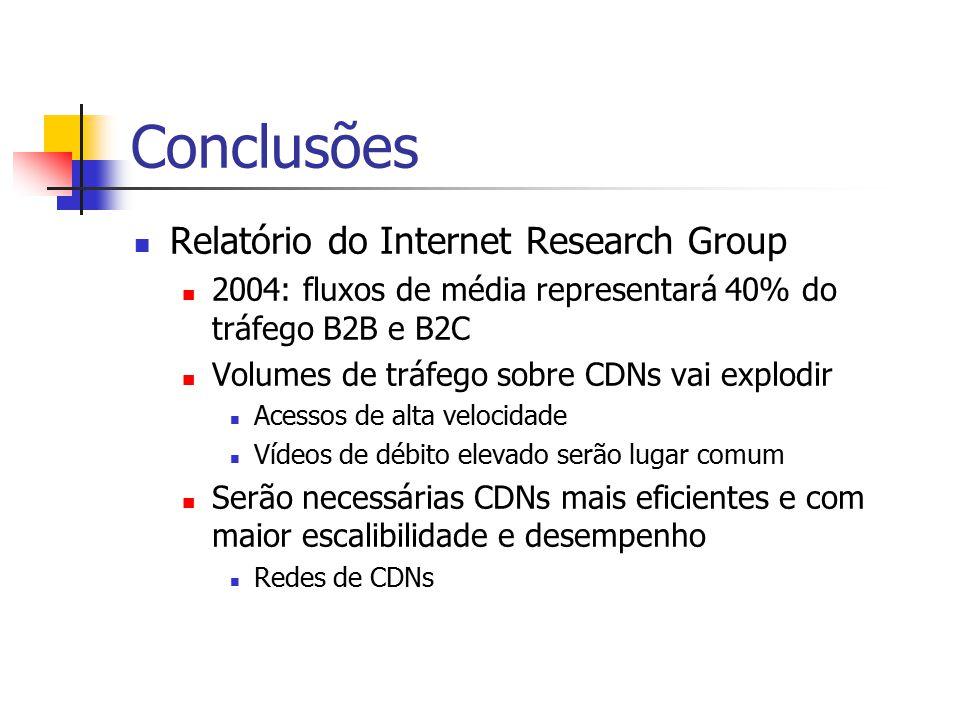 Conclusões Relatório do Internet Research Group 2004: fluxos de média representará 40% do tráfego B2B e B2C Volumes de tráfego sobre CDNs vai explodir