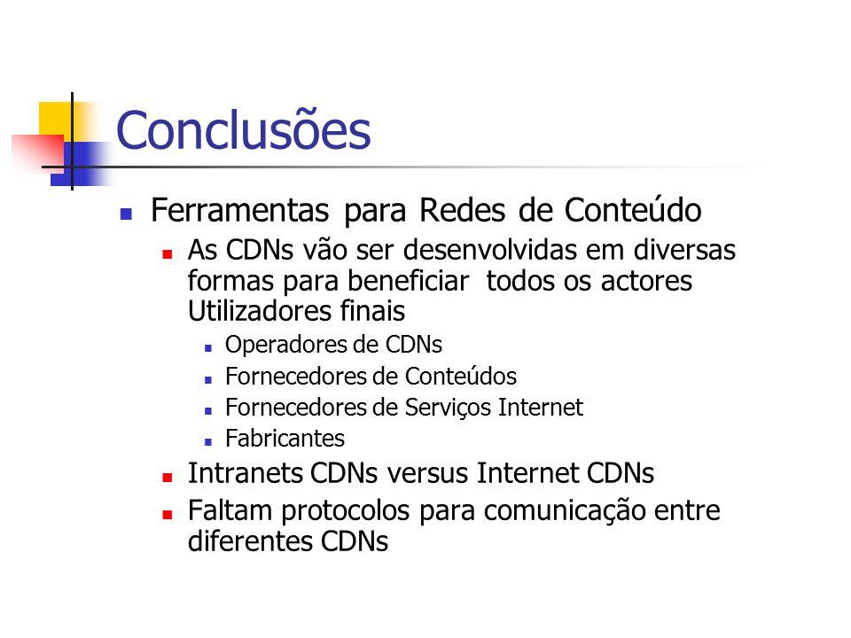 Conclusões Ferramentas para Redes de Conteúdo As CDNs vão ser desenvolvidas em diversas formas para beneficiar todos os actores Utilizadores finais Op