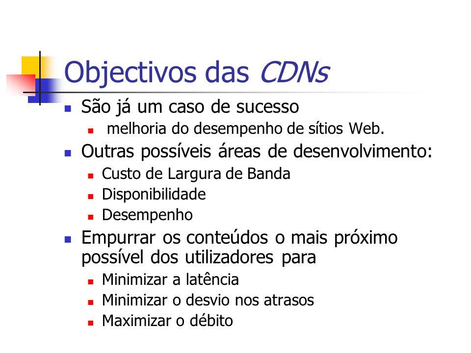 Objectivos das CDNs São já um caso de sucesso melhoria do desempenho de sítios Web. Outras possíveis áreas de desenvolvimento: Custo de Largura de Ban