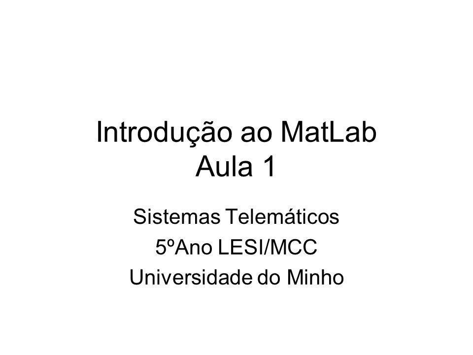 Introdução ao MatLab Aula 1 Sistemas Telemáticos 5ºAno LESI/MCC Universidade do Minho