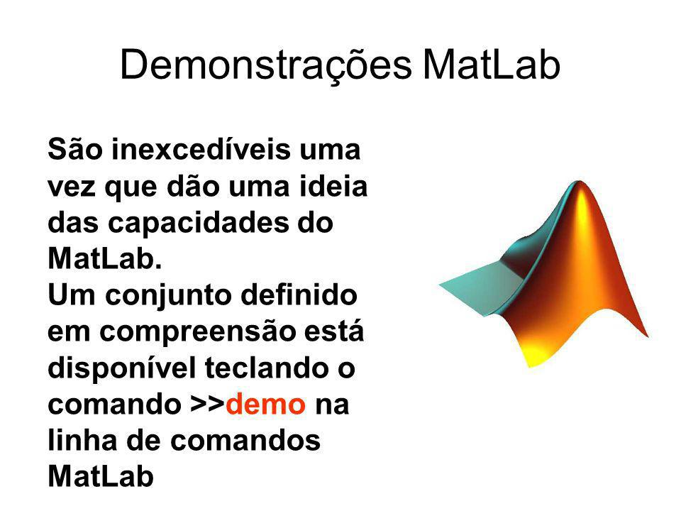 Demonstrações MatLab São inexcedíveis uma vez que dão uma ideia das capacidades do MatLab. Um conjunto definido em compreensão está disponível tecland