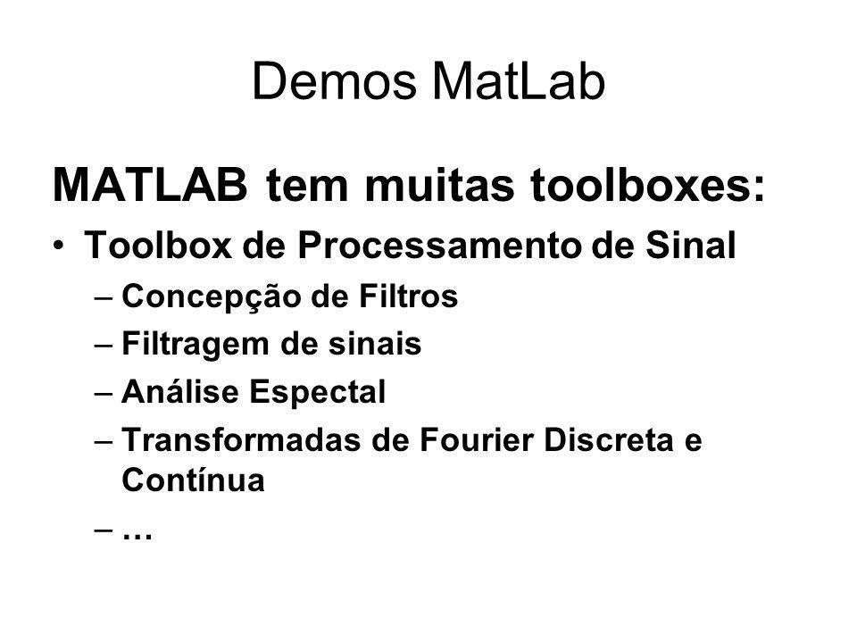 Demos MatLab MATLAB tem muitas toolboxes: Toolbox de Processamento de Sinal –Concepção de Filtros –Filtragem de sinais –Análise Espectal –Transformadas de Fourier Discreta e Contínua –…